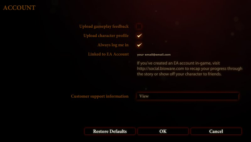 Dragon Age 2 Options