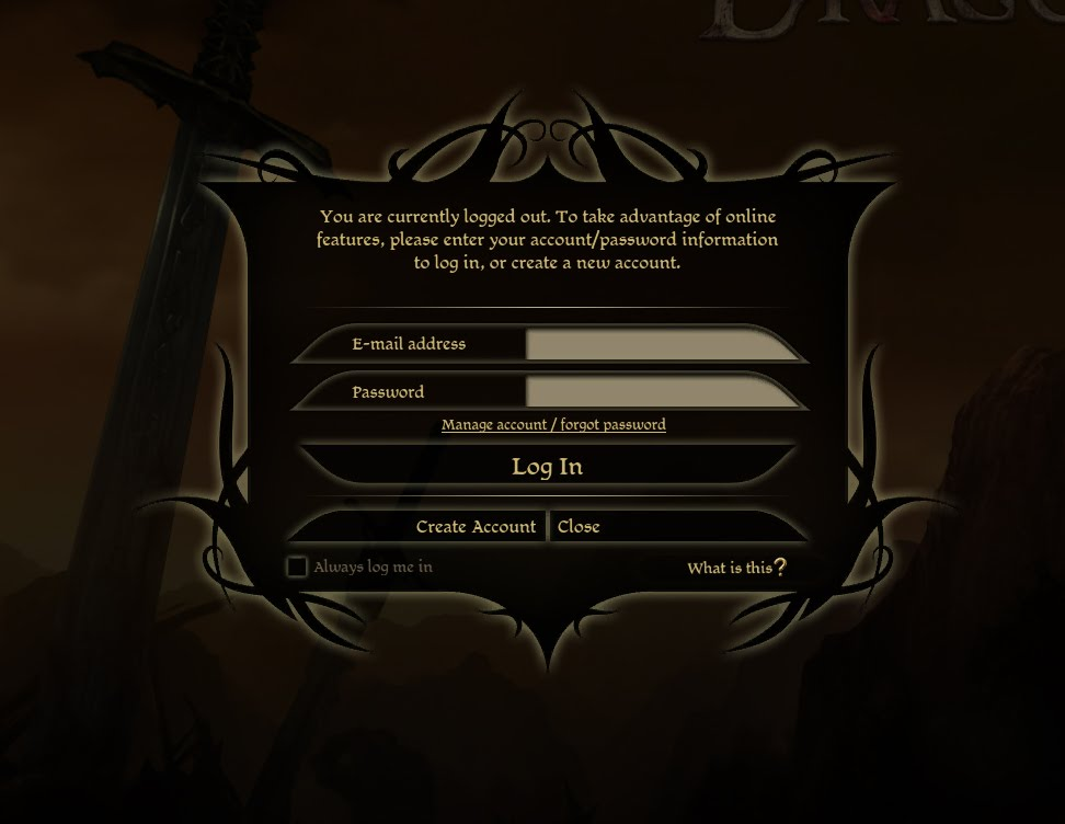 Dragon Age Origins Login Screen