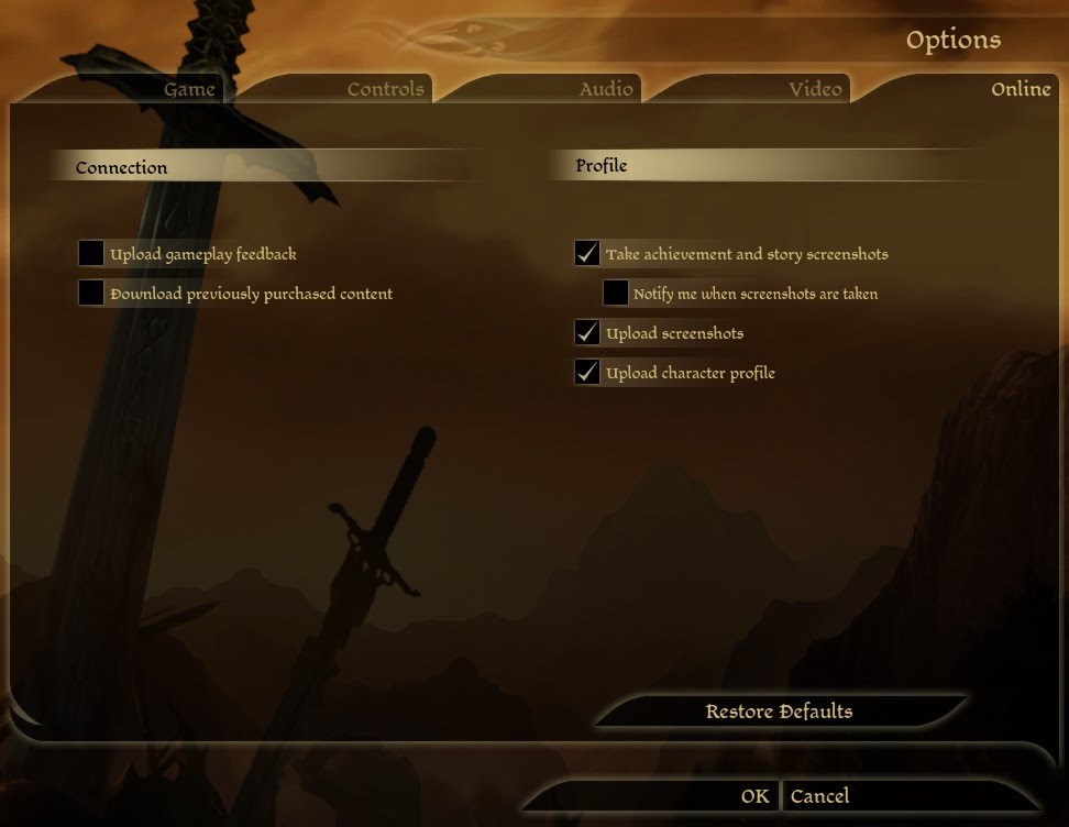 Dragon Age Origins Options Screen