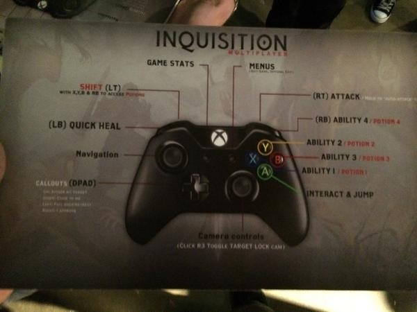 Dragon Age: Inquisition Xbox Controller commands