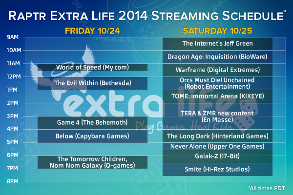 Dragon Age: Inquisition Live Stream Raptr Extra Life Schedule