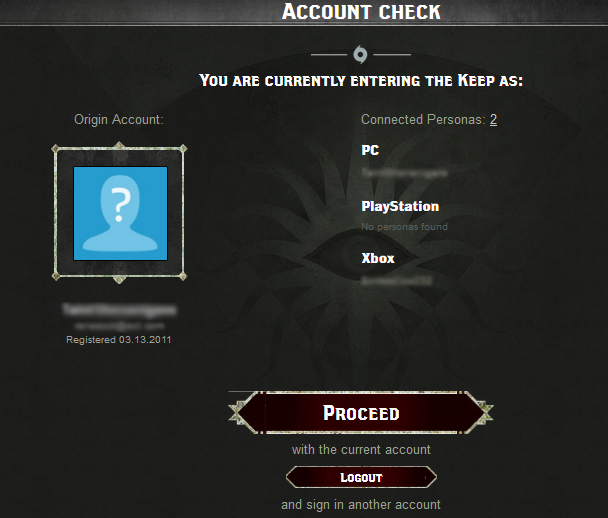 Dragon Age Keep Account Check After Login