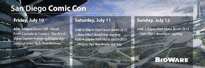 BioWare at San Diego Comic Con 2015 schedule